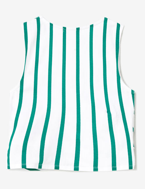 Green and white striped wrap tank top