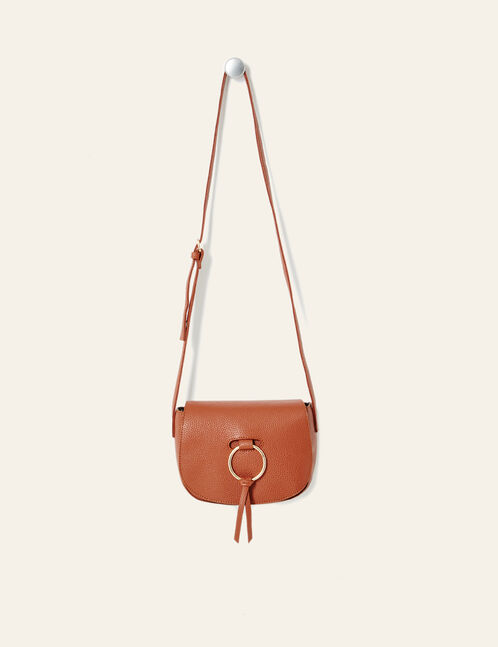 Camel crossbody bag with buckle detail