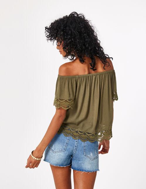 blouse avec dentelle kaki