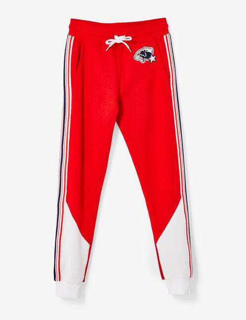 jogging bicolore rouge et blanc