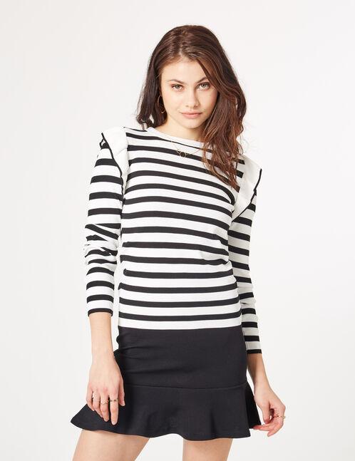 pull rayé avec volants noir et blanc
