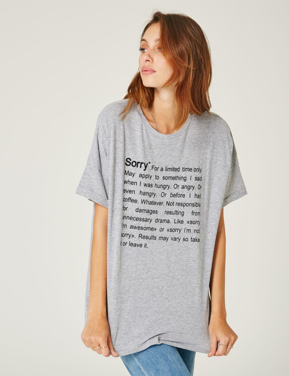 tee shirt message gris chin femme jennyfer. Black Bedroom Furniture Sets. Home Design Ideas