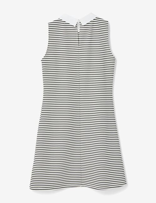 Black and white striped dress with white collar detail