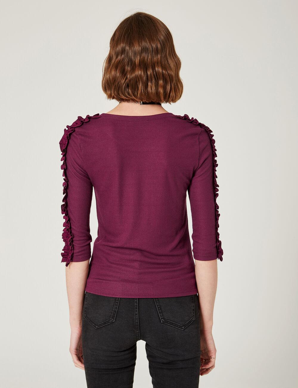 tee shirt avec volants violet femme jennyfer. Black Bedroom Furniture Sets. Home Design Ideas