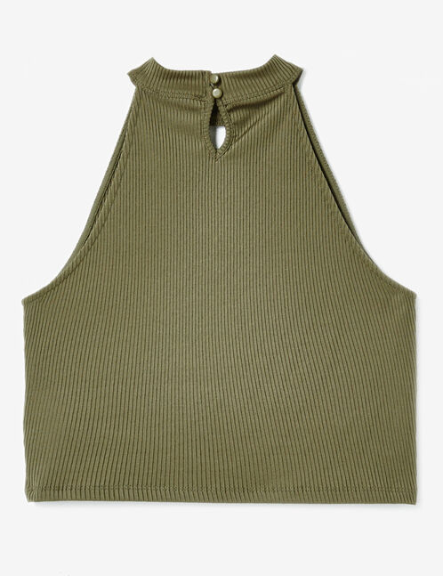 Khaki crop top with lacing detail