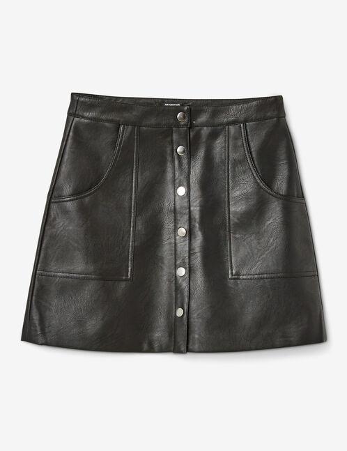 jupe simili boutonnée noire