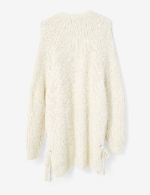 Cream cardigan with side tie detail