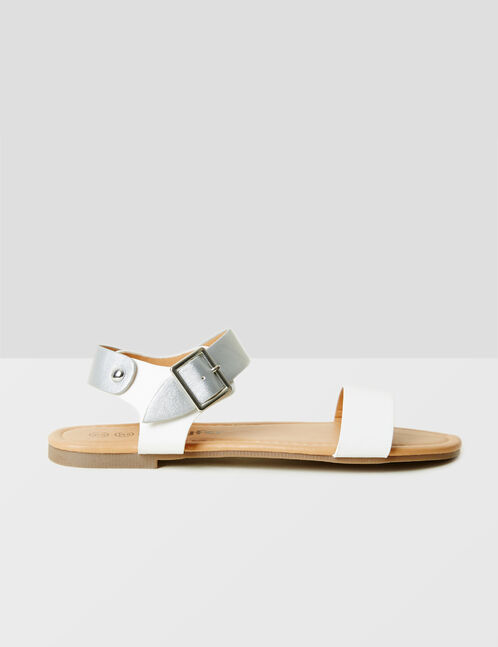 White and silver two-tone flat sandals