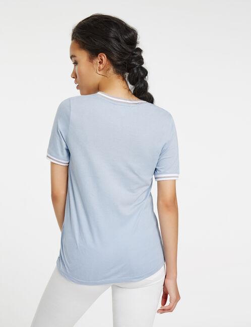 tee-shirt imprimé look at me bleu pastel