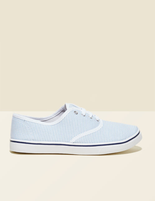 Cream and light blue striped canvas trainers