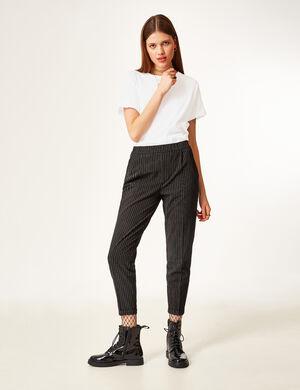 pantalon ville fines rayures noir et écru