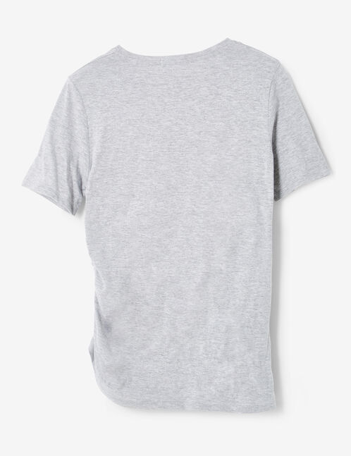 Grey marl T-shirt with ruched detail