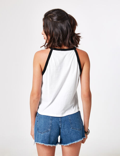 "Cream and black ""feminist"" tank top"
