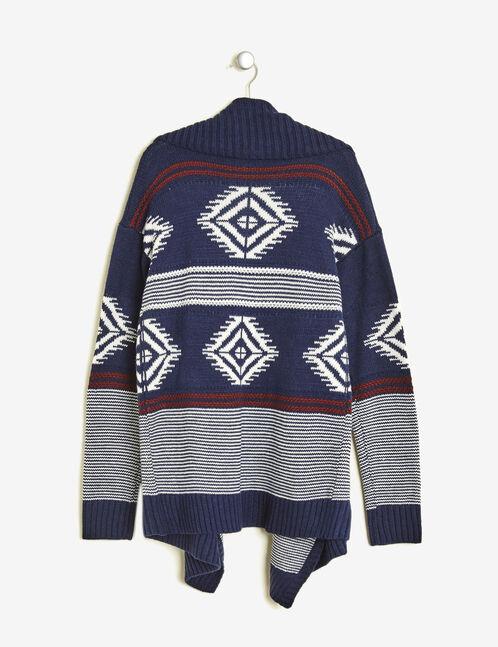 gilet jeté motif aztèque bleu marne, écru et bordeaux