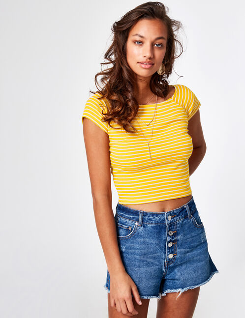 Ochre and cream striped crop top