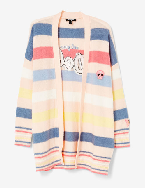 Light pink striped cardigan with patch detail