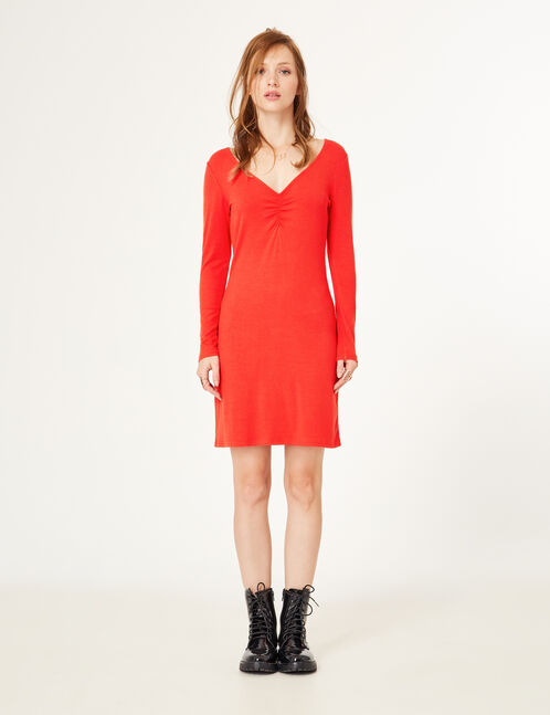 Red dress with ruched detail