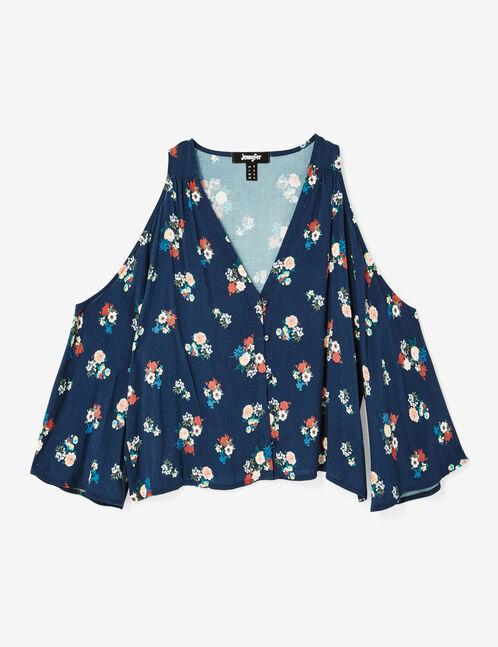 blouse épaules ajourées bleu foncé