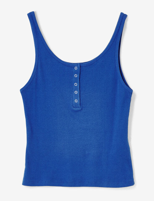 Blue tank top with press-stud detail