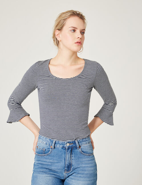 Navy blue and cream striped top with pagoda sleeves