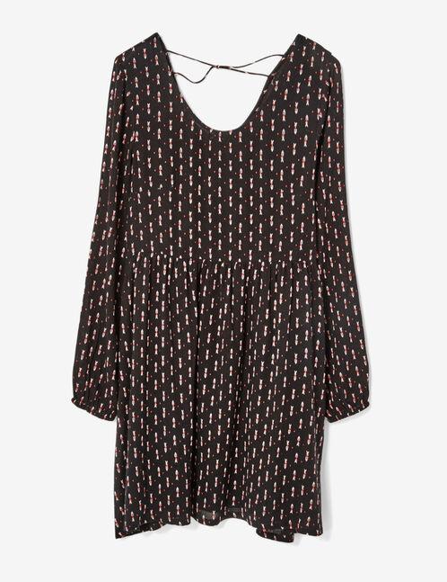 robe imprimé géométrique noire