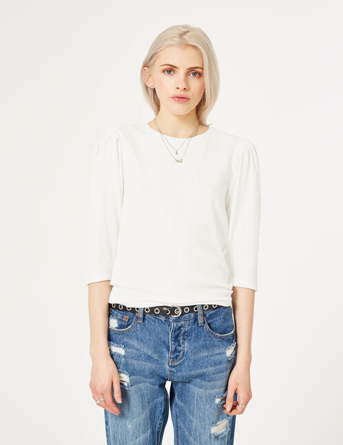 Cream balloon sleeve top