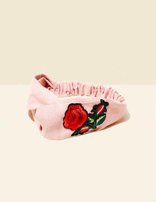 headband à patch roses rose clair