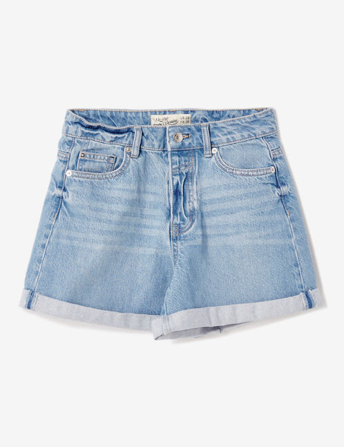 Light blue denim turn-up shorts