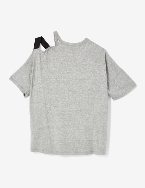 Grey marl T-shirt with strap and buckle detail