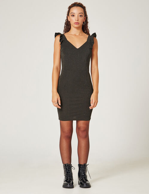 Black fitted dress with lurex detail
