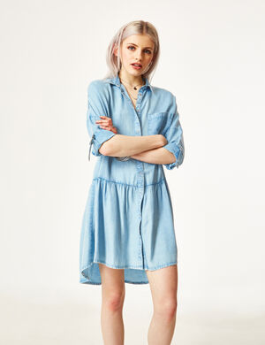 robe chemise évasée bleu clair