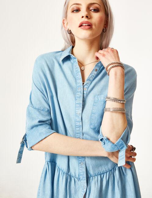 Light blue flared shirt dress
