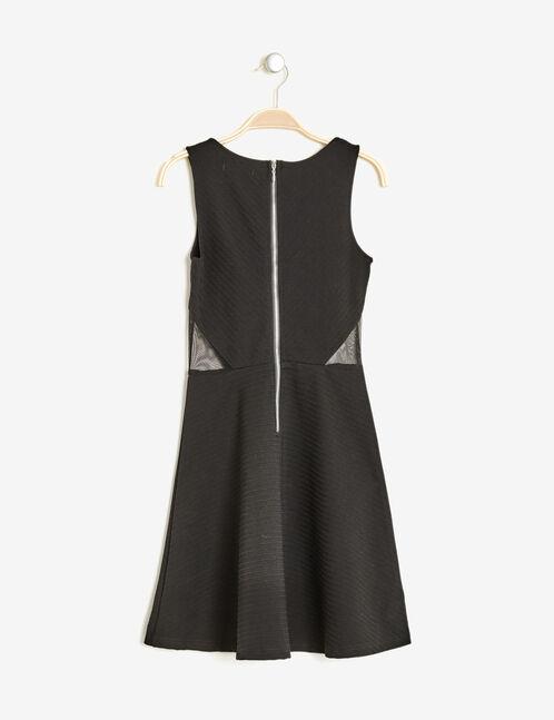 Black textured flared dress
