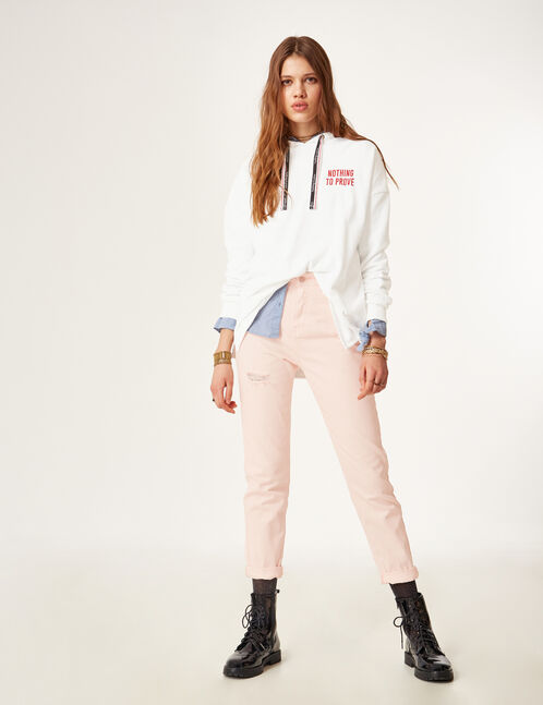 Light pink distressed mom trousers
