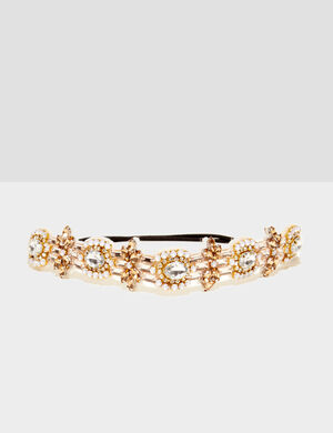 headband avec perles beige