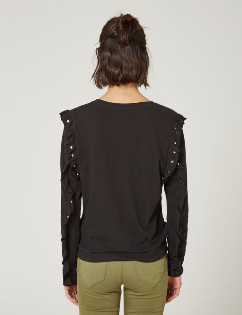 Black T-shirt with frill and stud details