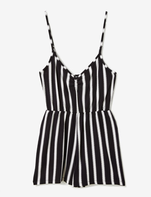Black and white striped playsuit