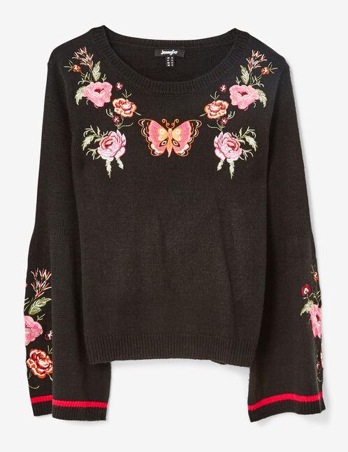 Black embroidered jumper