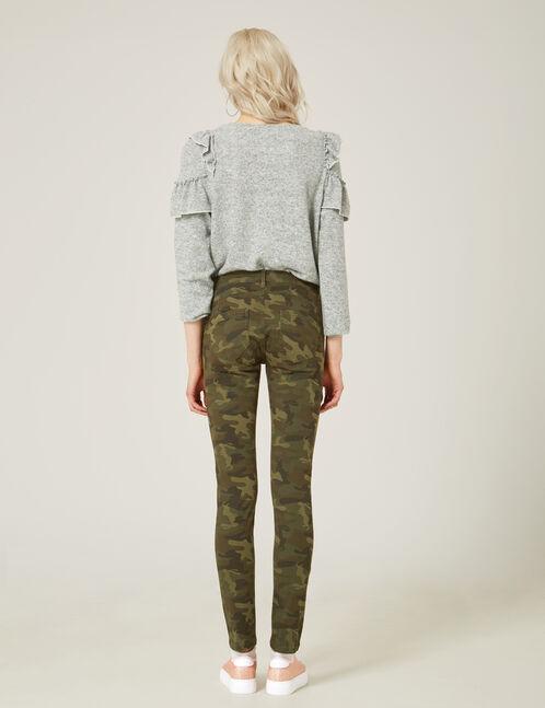 Khaki camouflage skinny push-up trousers