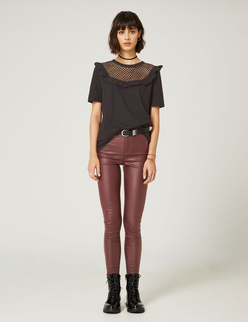 Plum high-waisted coated trousers