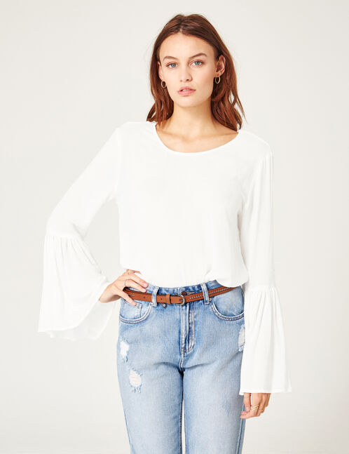 Cream blouse with pagoda sleeves