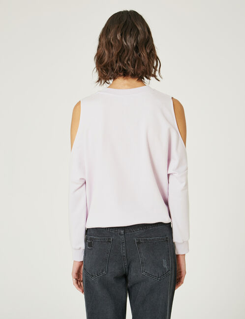 Mauve cold shoulder sweatshirt
