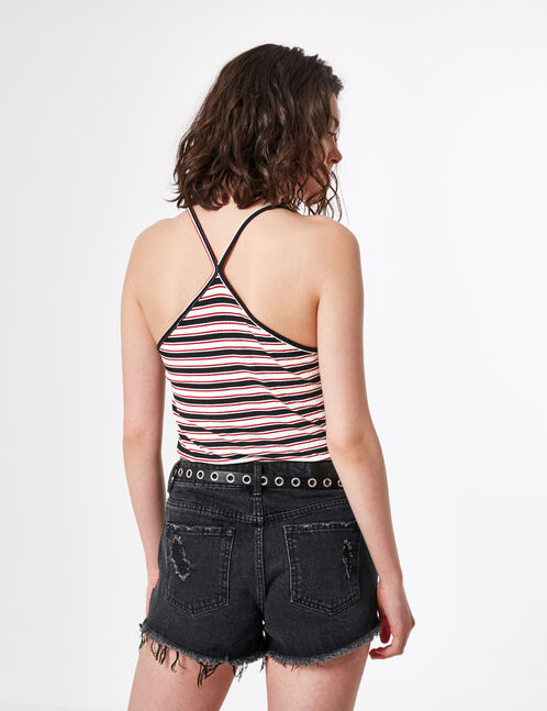 Cream, red and black striped camisole