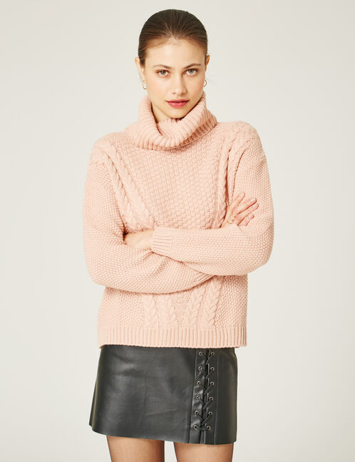 Light pink polo neck jumper
