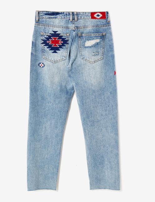 jean straight avec broderies bleu clair