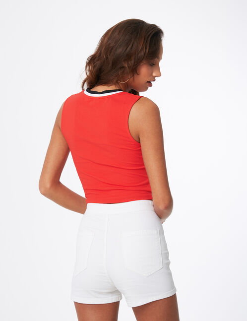 Red crop top with stripe detail