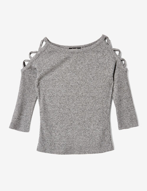 tee-shirt avec laçages gris anthracite chiné