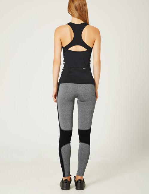 legging fitness tricolore noir, gris chiné et rouge
