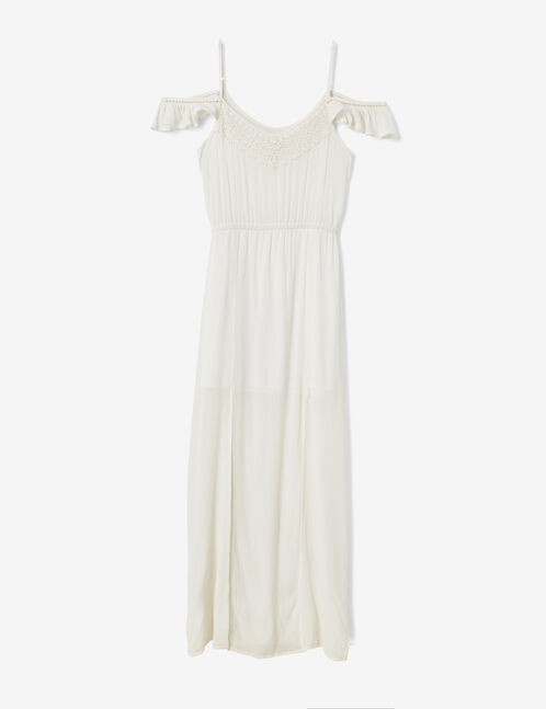 robe longue fendue écrue