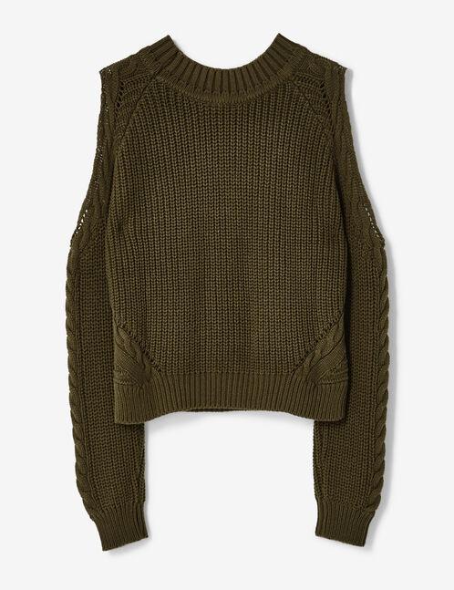 Khaki cold shoulder jumper